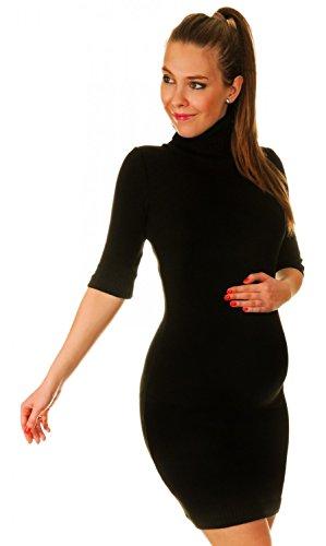 Happy Mama Damen - Umstands Stretch Strick-minikleid mit Rollkragen. 125p (Schwarz, ONE SIZE EU 36/38/40) - 1
