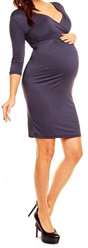 Happy Mama. Damen Viskosejersey Umstandskleid. Schwangerschafts Kleid. 001p (Blau Grau, 40) -