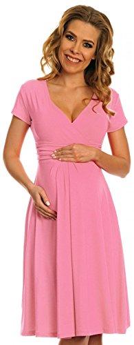 Happy Mama Damen Viskosejersey Umstandskleid Schwangerschafts Kleid Kurzarm 108p (Pulver Rosa, EU 36, S) -