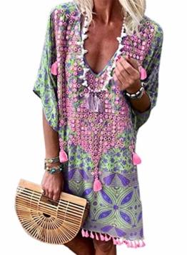 Happy Sailed Damen Kurzarm V-Ausschnitt Retro Bikini Cover Up Strandkleid Bikinikleid Beachwear , green/rose (152-22), S - 1