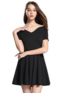 Haroty Schwarzer Minikleid V-Ausschnitt Abendkleider Damen Kurzarm Cocktailkleid Kleider Kurz Kleid (XL) - 1