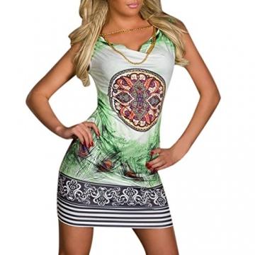 Hee Grand Damen reizvolle Strandkleid fuer Minikleid Leopard Kleid Sommer Druckweinlese Partei evenning fuer Frauen sexy Vereinkleid Gruen - 1