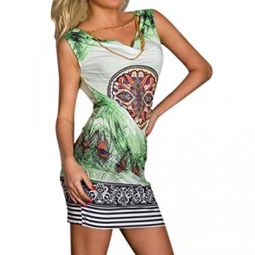 Hee Grand Damen reizvolle Strandkleid fuer Minikleid Leopard Kleid Sommer Druckweinlese Partei evenning fuer Frauen sexy Vereinkleid Gruen - 2