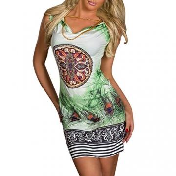 Hee Grand Damen reizvolle Strandkleid fuer Minikleid Leopard Kleid Sommer Druckweinlese Partei evenning fuer Frauen sexy Vereinkleid Gruen - 3