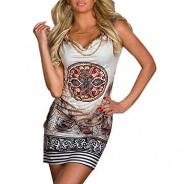 Hee Grand Damen reizvolle Strandkleid fuer den Sommer Druckweinlese Partei evenning Minikleid Leopard Kleid fuer Frauen sexy Vereinkleid Kaffee - 1