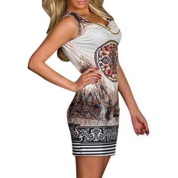 Hee Grand Damen reizvolle Strandkleid fuer den Sommer Druckweinlese Partei evenning Minikleid Leopard Kleid fuer Frauen sexy Vereinkleid Kaffee - 2