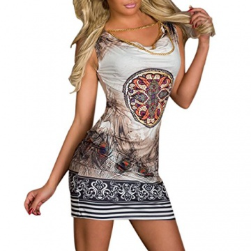 Hee Grand Damen reizvolle Strandkleid fuer den Sommer Druckweinlese Partei evenning Minikleid Leopard Kleid fuer Frauen sexy Vereinkleid Kaffee - 3