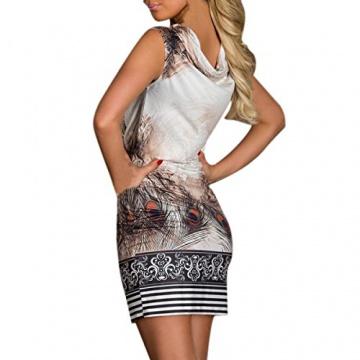 Hee Grand Damen reizvolle Strandkleid fuer den Sommer Druckweinlese Partei evenning Minikleid Leopard Kleid fuer Frauen sexy Vereinkleid Kaffee - 4