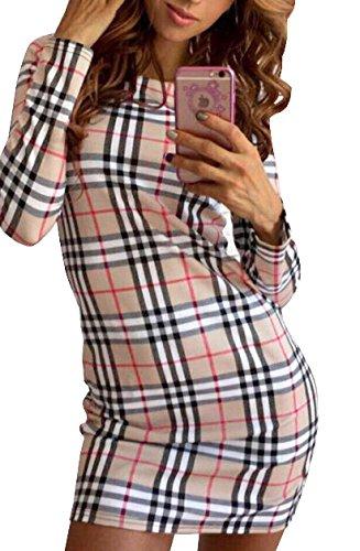 Herbst Winter Deman Langarm Wickelkleider Bleistiftrock Kariert PartyKleid Casual Schrittrock Festkleid Etuikleider Tunikakleid Minikleid Freizeitkleid (EU34(S), Khaki) -