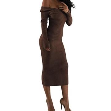 Hffan 2018 Damen Basic Langarm Elegant Braun Sexy Schwarz Mode Khaki Weich Weiß Kleider Super Weiches Rundhals Eng Slim Fit Freizeit Lang Frauen Täglich Atmungsaktiv Kleider(Braun,X-Large) - 1