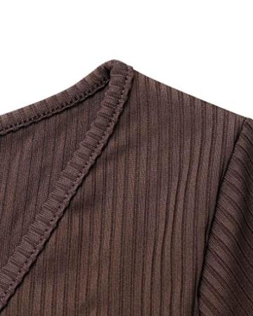 Hffan 2018 Damen Basic Langarm Elegant Braun Sexy Schwarz Mode Khaki Weich Weiß Kleider Super Weiches Rundhals Eng Slim Fit Freizeit Lang Frauen Täglich Atmungsaktiv Kleider(Braun,X-Large) - 6