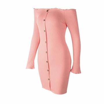 Hffan Damen Herbstkleid Eng Minikleid Elegant Sexy Modisch Langarm Schulterfrei Kurz Wickelkleid Stricken Tube Top Kleid Einfarbig Einfach Bequem Freizeit Minikleid(Rosa,Small) - 3