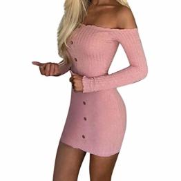 Hffan Damen Herbstkleid Eng Minikleid Elegant Sexy Modisch Langarm Schulterfrei Kurz Wickelkleid Stricken Tube Top Kleid Einfarbig Einfach Bequem Freizeit Minikleid(Rosa,Small) - 1