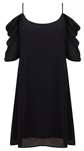 HIMONE Damen Kalte Schulter Trapeze lässige Behälter-Spitze Trapeze Kleid Schwarz,XL -