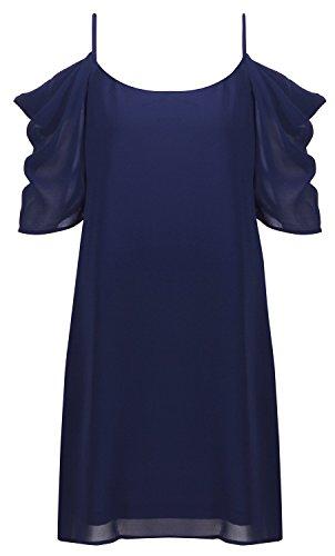 HIMONE Damen V-Ausschnitt Chiffonkleid Party Sommerkleid Festliches Kleid A-Linie kalte Schulter Dunkelblau,L -