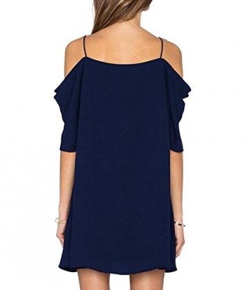 HIMONE Damen V-Ausschnitt Chiffonkleid Party Sommerkleid Festliches Kleid A-Linie kalte Schulter (42-44,Dunkelblau) -
