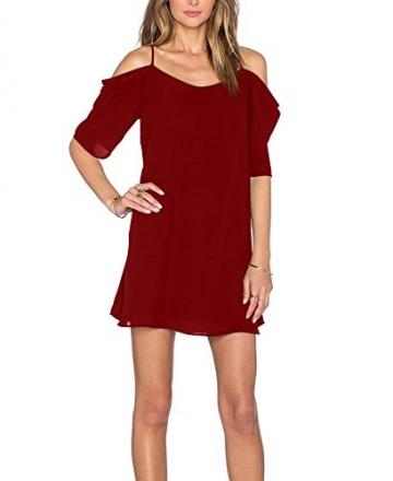 HIMONE Frauen Chiffon Kalte Schulter Trompete-Hülsen-Spaghetti-Bügel-Kleid (40,Rot) -