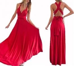 Hippolo Multi-tragen Multi-Seil Cross-Halfter Sexy Bandage Kleid Rock Kleid (M, Rote) -