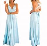 Hippolo Multi-tragen Multi-Seil Cross-Halfter Sexy Bandage Kleid Rock Kleid (S, Azurblau) -