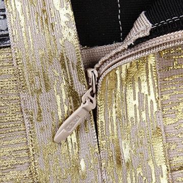 HLBandage Damen Metallic ärmel Rückenfreies Schlank Verband-Kleid(XS,Gold) -