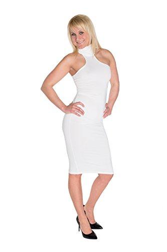 HO-Ersoka Damen Etui-Kleid Pencil-Dress Schulterfrei Knielang Stehkragen Elastisch weiß - 3