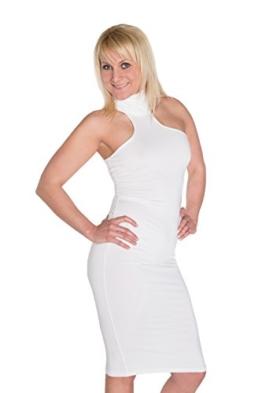 HO-Ersoka Damen Etui-Kleid Pencil-Dress Schulterfrei Knielang Stehkragen Elastisch weiß - 1