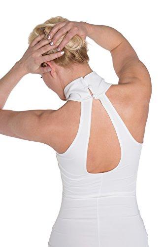 HO-Ersoka Damen Etui-Kleid Pencil-Dress Schulterfrei Knielang Stehkragen Elastisch weiß - 4