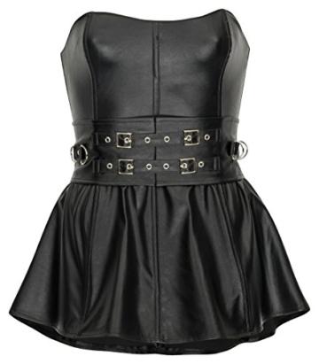 HO-Ersoka Damen Mini-Kleid Wetlook Kunst-Leder Partykleid Bandeau Dress 2XL - 1