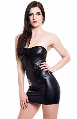 HO-Ersoka Damen Minikleid Wetlook Bandeau Clubkleid Partykleid mit roter Schnürung schwarz XS-M - 1