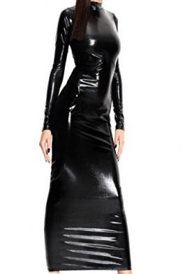 HO-Ersoka Lack Kleid Wetlook Dress lang Bänder am Rücken schwarz XS-M -