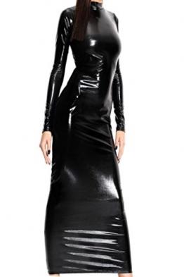 HO-Ersoka Lack Kleid Wetlook Dress lang Bänder am Rücken schwarz XS-M -