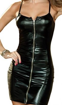 HO-Ersoka Lack Wetlook Minikleid mit Reißverschluß inkl. String schwarz XS-M - 1