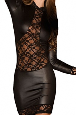 HO-Ersoka Wetlook Partykleid Minikleid Clubkleid langarm mit Spitze schwarz XS-M -