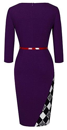 HOMEYEE Damen Ohne Arm Asymmetrische V-Ausschnitt Belted Enges Kleid B290 (EU 36 (Herstellergroesse: S), Violett+Grid- 3/4 Ärmel) -