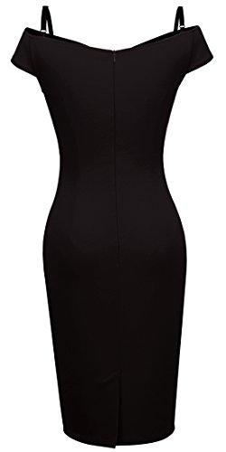HOMEYEE Damen Vintage Blumendruck Off Shoulder Riemchen Knielänge Bodycon Enges Kleid B309 (EU 40 (Herstellergroesse: L), Schwarz) - 4