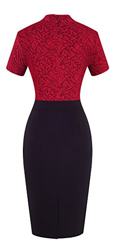HOMEYEE Damen Vintage Stehkragen Kurzarm Bodycon Business Bleistift Kleid B430 (EU 36 = Size S, Rot + Schwarz) - 2