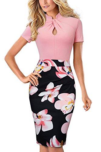HOMEYEE Damen Vintage Stehkragen Kurzarm Bodycon Business Bleistift Kleid B430 (EU 36 = Size S, Hellrosa) - 1