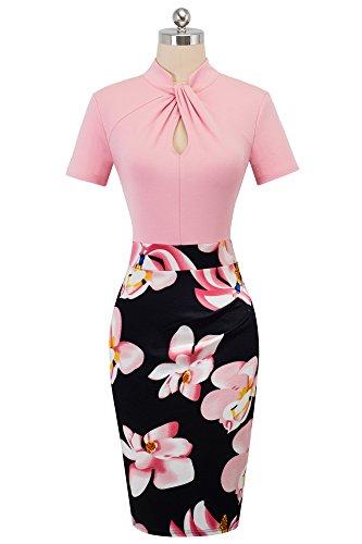 HOMEYEE Damen Vintage Stehkragen Kurzarm Bodycon Business Bleistift Kleid B430 (EU 36 = Size S, Hellrosa) - 3