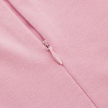 HOMEYEE Damen Vintage Stehkragen Kurzarm Bodycon Business Bleistift Kleid B430 (EU 36 = Size S, Hellrosa) - 4