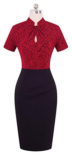 HOMEYEE Damen Vintage Stehkragen Kurzarm Bodycon Business Bleistift Kleid B430 (EU 36 = Size S, Rot + Schwarz) - 3