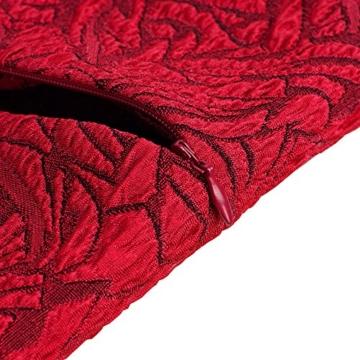 HOMEYEE Damen Vintage Stehkragen Kurzarm Bodycon Business Bleistift Kleid B430 (EU 36 = Size S, Rot + Schwarz) - 4