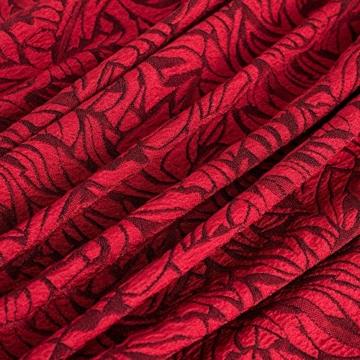 HOMEYEE Damen Vintage Stehkragen Kurzarm Bodycon Business Bleistift Kleid B430 (EU 36 = Size S, Rot + Schwarz) - 5