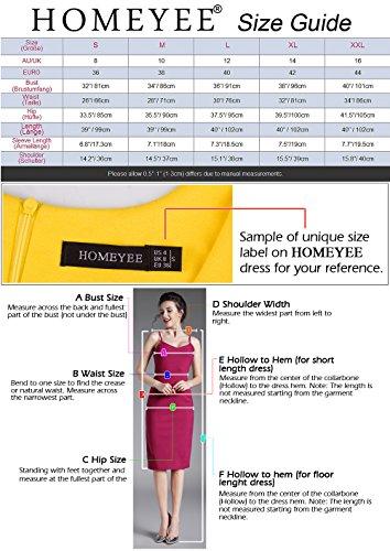 HOMEYEE Damen Vintage Stehkragen Kurzarm Bodycon Business Bleistift Kleid B430 (EU 36 = Size S, Rot + Schwarz) - 7