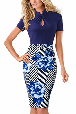 HOMEYEE Damen Vintage Stehkragen Kurzarm Bodycon Business Bleistift Kleid B430 (EU 36 = Size S, Streifen + Blumen) - 1