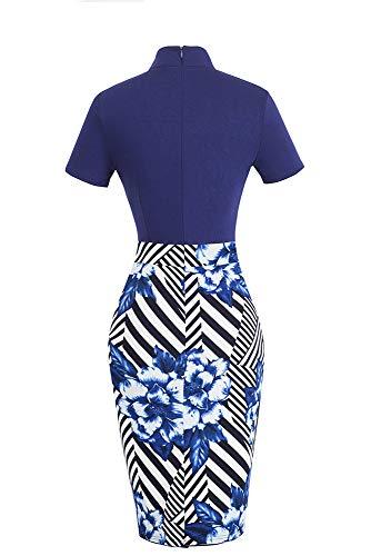 HOMEYEE Damen Vintage Stehkragen Kurzarm Bodycon Business Bleistift Kleid B430 (EU 36 = Size S, Streifen + Blumen) - 2