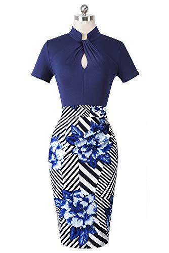 HOMEYEE Damen Vintage Stehkragen Kurzarm Bodycon Business Bleistift Kleid B430 (EU 36 = Size S, Streifen + Blumen) - 3