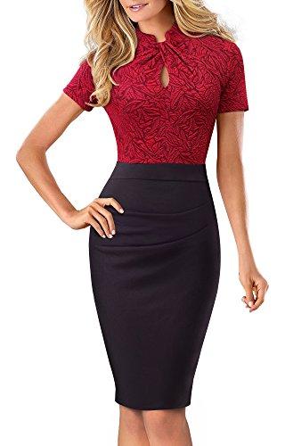 HOMEYEE Damen Vintage Stehkragen Kurzarm Bodycon Business Bleistift Kleid B430 (EU 36 = Size S, Rot + Schwarz) - 1