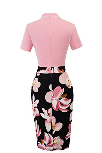 HOMEYEE Vintage Bodycon Kleid Blumenmuster Hellrosa 2