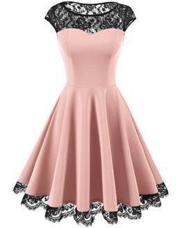 Homrain Damen 1950er Elegant Spitzenkleid Rundhals Knielang festlich Cocktail Abendkleid Pink S - 1
