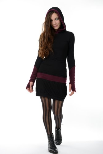 Hoodie-kleid / Kapuzenkleid Damen in mit Fleece-Stulpen Daumenloch Armstulpen von 3 Elfen, schwarz grau S Winterkleid -